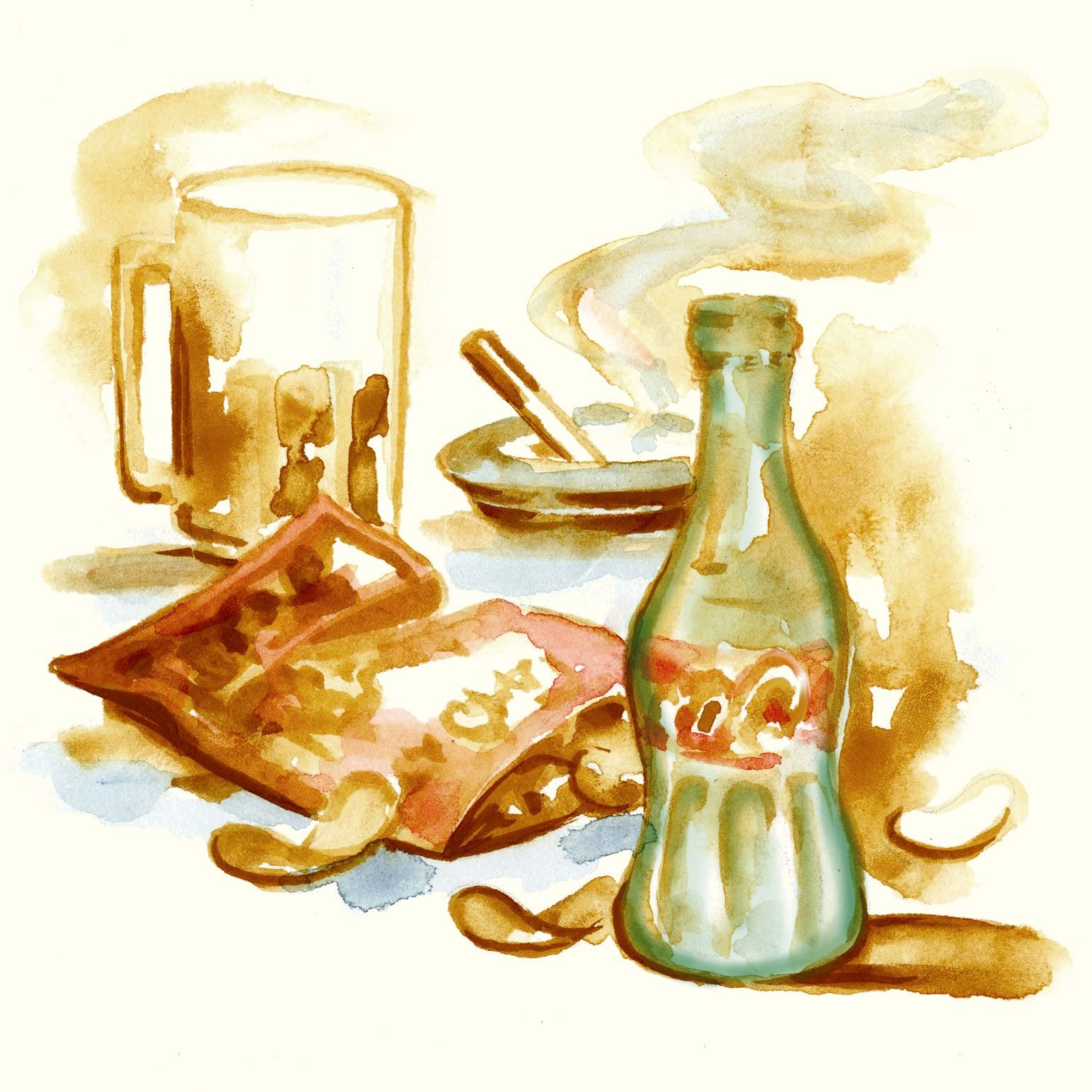 illustration still life of a beer mug, coke bottle, bag of chips, and cigarette in an ashtray