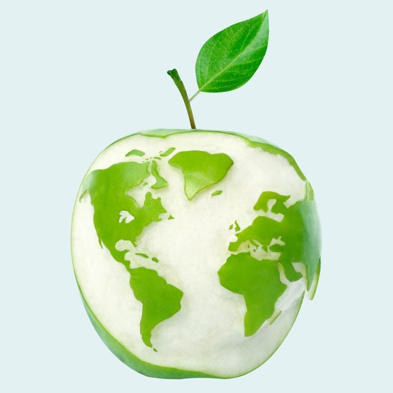 apple with a map of the world cut into the skin