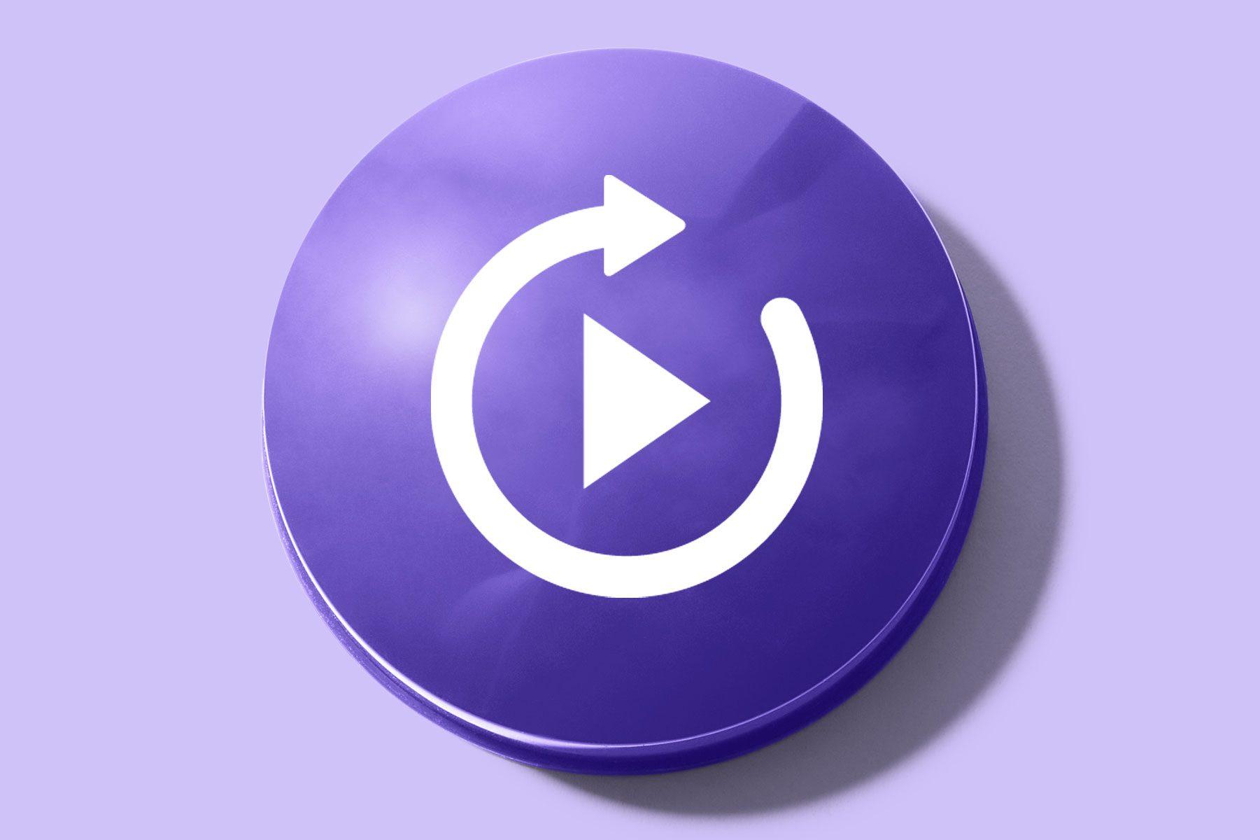 purple button with a repeat symbol