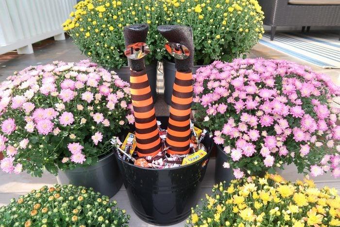 witch leg candy bucket halloween craft