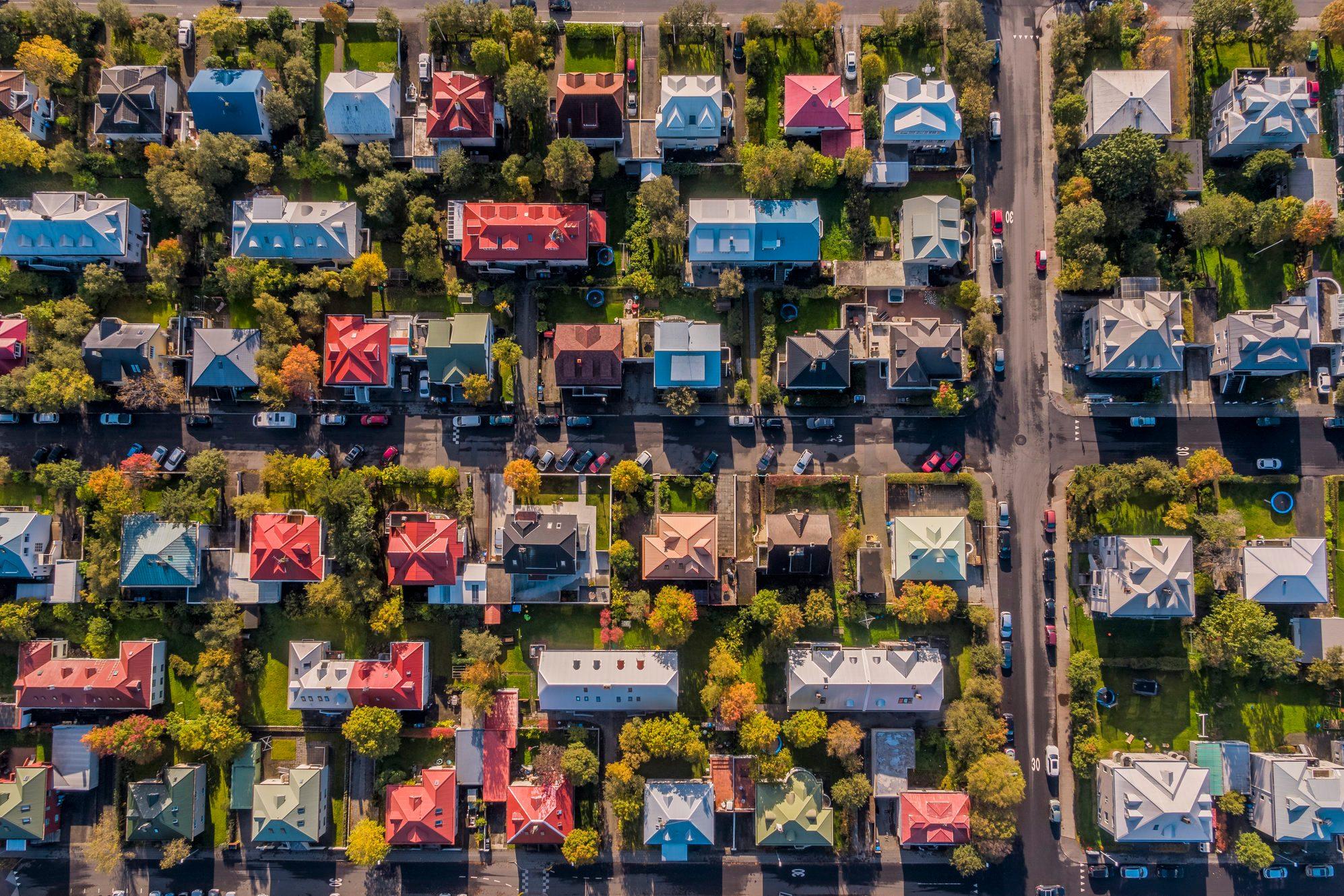 Aerial - Colorful Roof tops, Reykjavik, Iceland