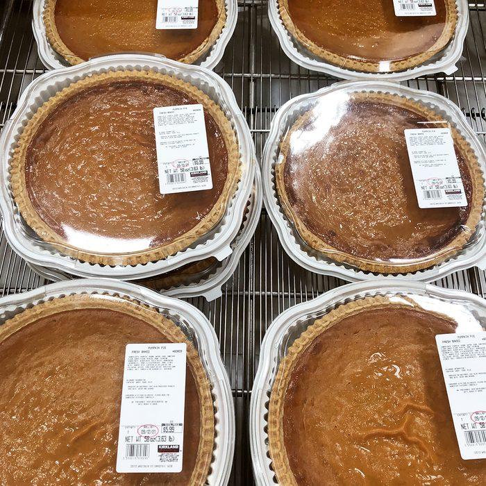 Costco Pumpkin Pies on shelf in store