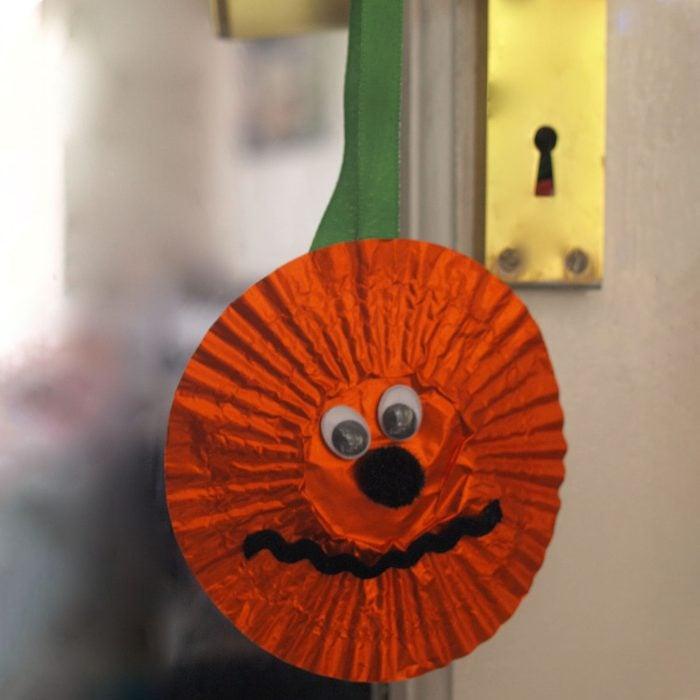 Cupcake Wrapper Pumpkin Door Hanger Halloween Kids Craft
