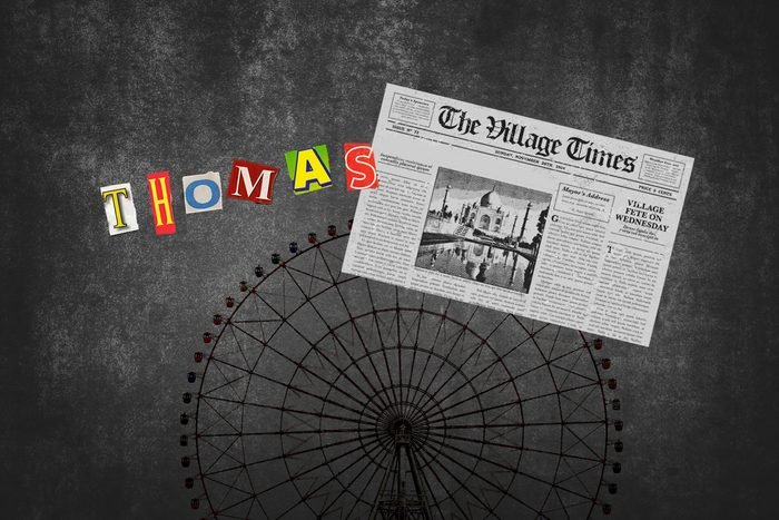 Ferris Wheel With Newspaper Cutout With Text Thomas