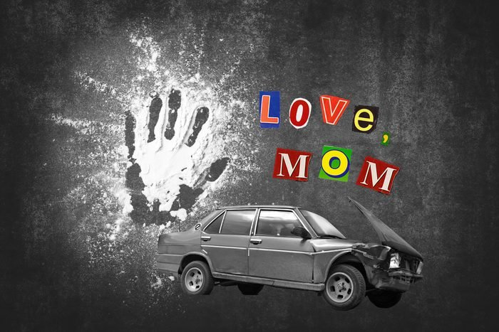 Handprint In Flour And Car Crash With Text Love, Mom
