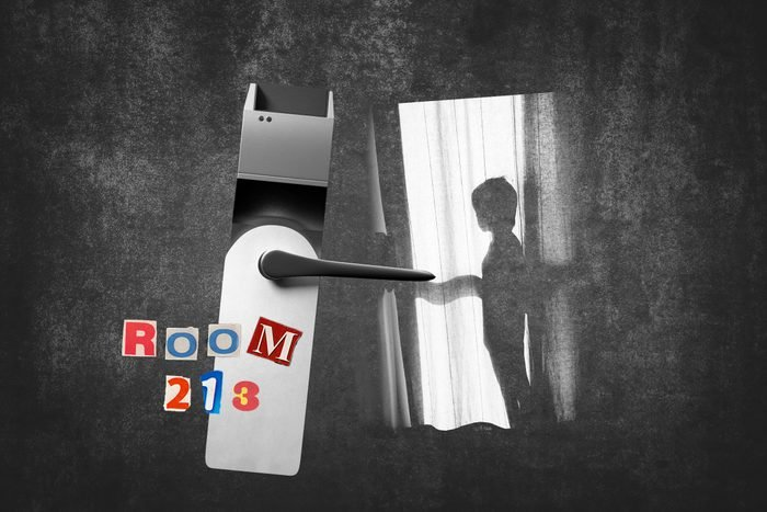 Hotel Room Doorknob Next To Silhouette Of Boy With Text Room 213
