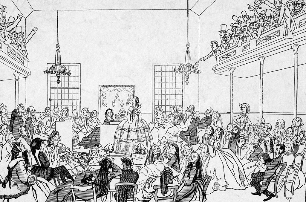 Illustration of First Women's Rights Convention in 1848