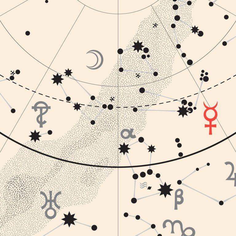 a star map showing constellations and astological symbols including the symbol for Mercury in red