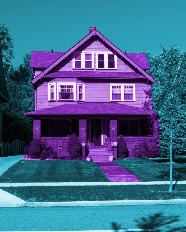 Neighborhood with one house colored