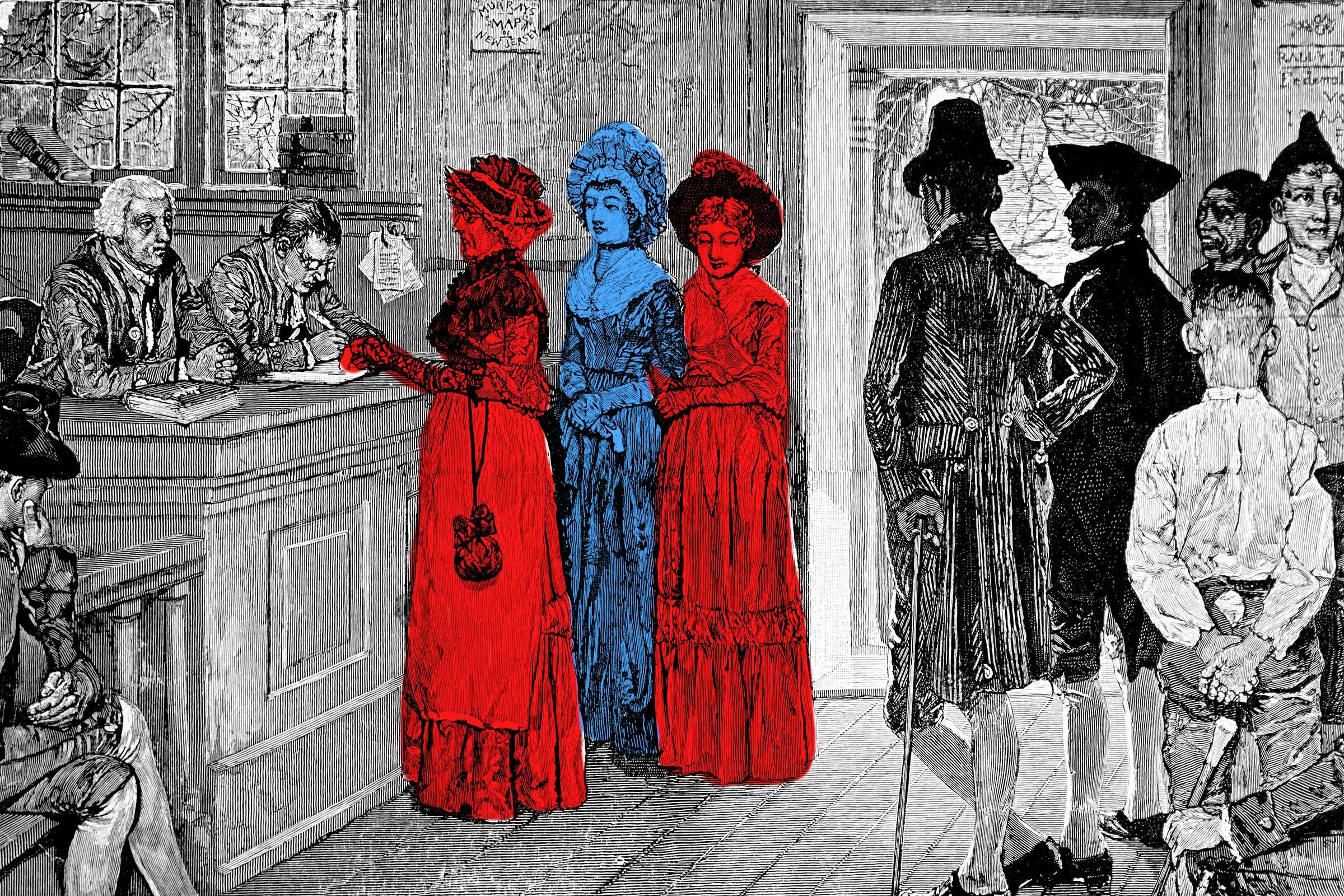 Colonial etching overlaid with red and blue marker
