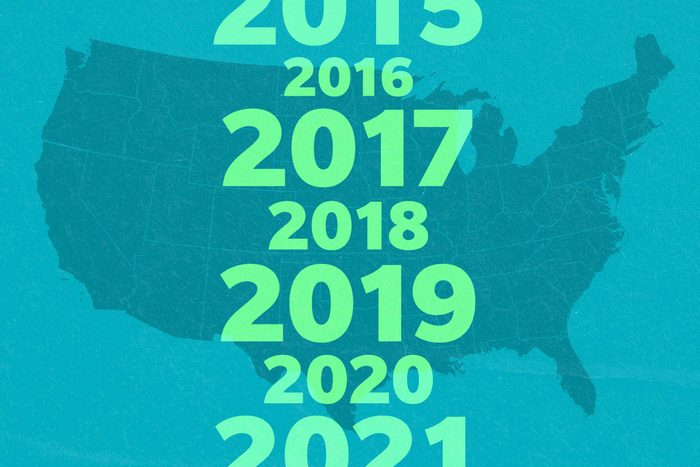 Map of united states with odd years enlarged