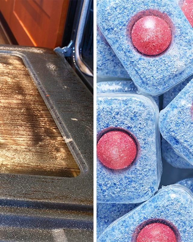 split screen: oven door with dishwasher soap tablets