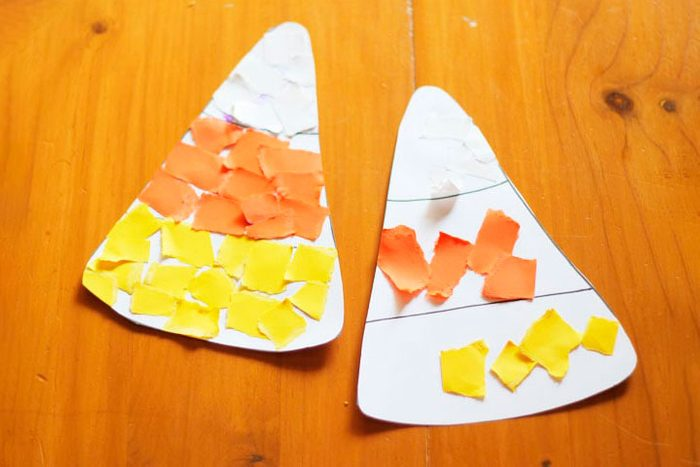 Scrap Paper Candy Corn Halloween Kids Craft