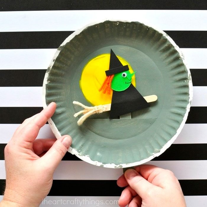 Paper Plate Flying Witch Halloween Craft