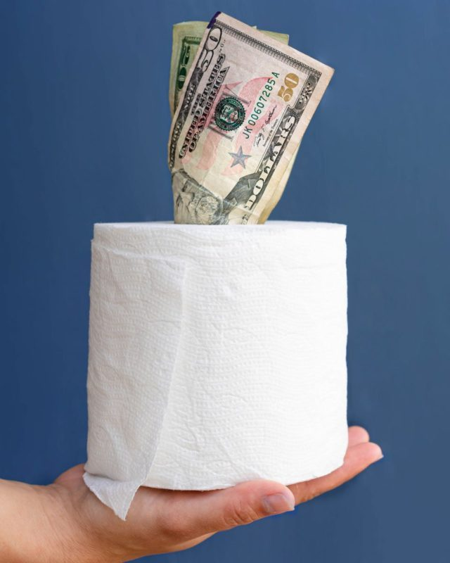 Toilet paper and paper money