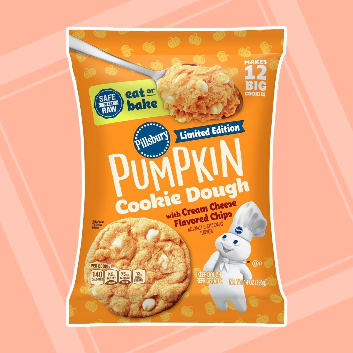 Pillsbury Ready to Bake! Pumpkin Cookies with Cream Cheese Chips, 14 Oz, 12 Count