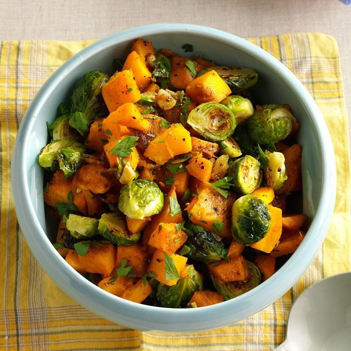 Roasted pumpkin and Brussel sprouts