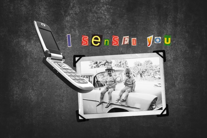 Scrapbook Photograph Of Two Children Next To Flip Cell Phone With Text I Sensed You