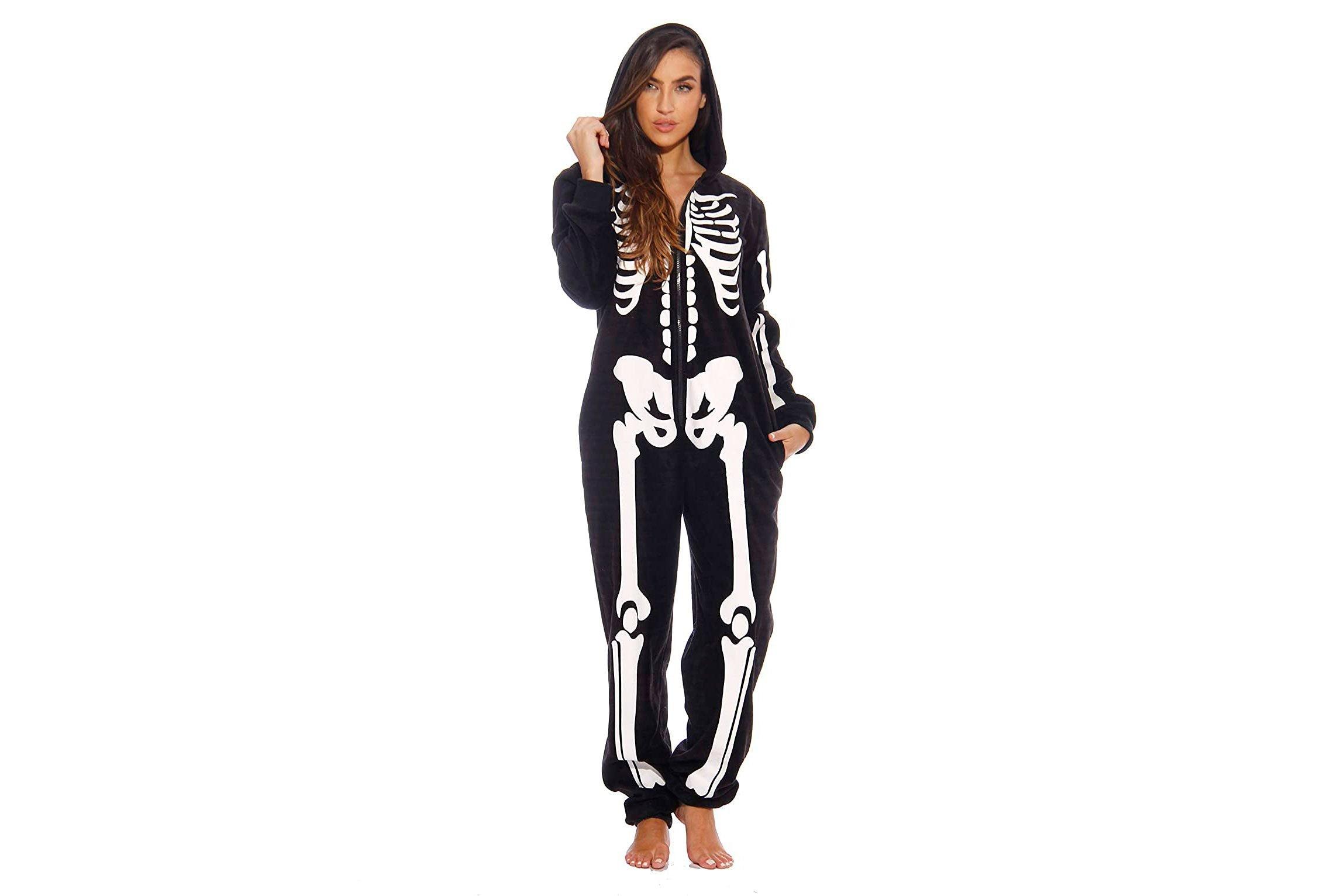 skeleton onesie halloween costume