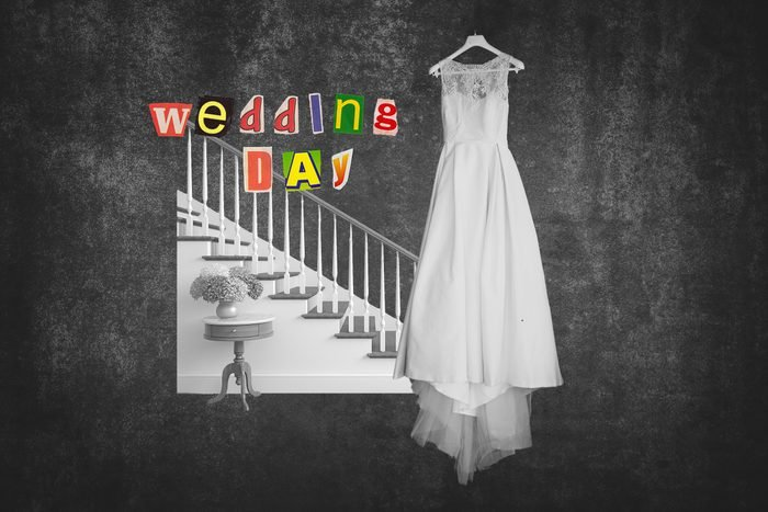 Staircase Next To Wedding Dress On Hanger With Text Wedding Day