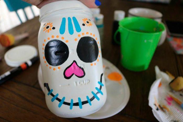 sugar skull mason jar halloween craft