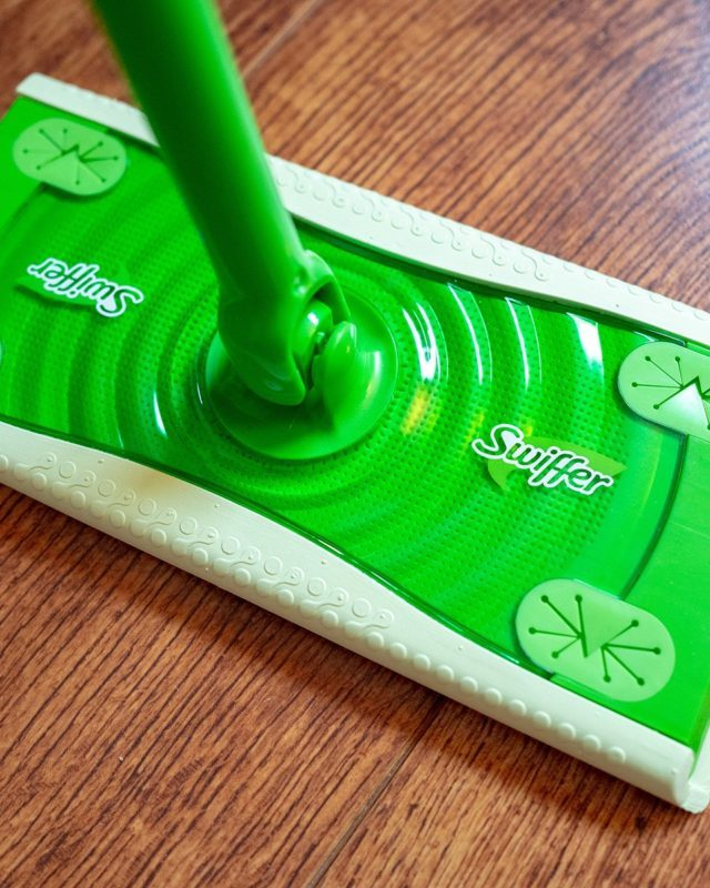 Logo is visible on a Swiffer cleaning device from conglomerate Proctor and Gamble in a home interior setting, San Ramon, California, April 18, 2020. (Photo by Smith Collection/Gado/Getty Images)