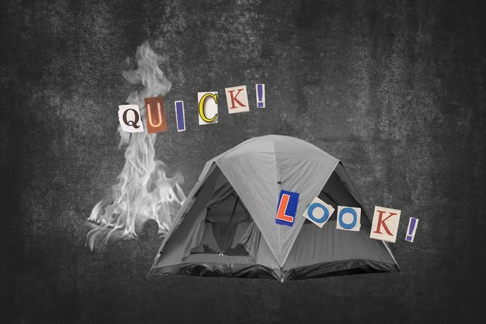 Tent And Campfire With Text Quick, Look