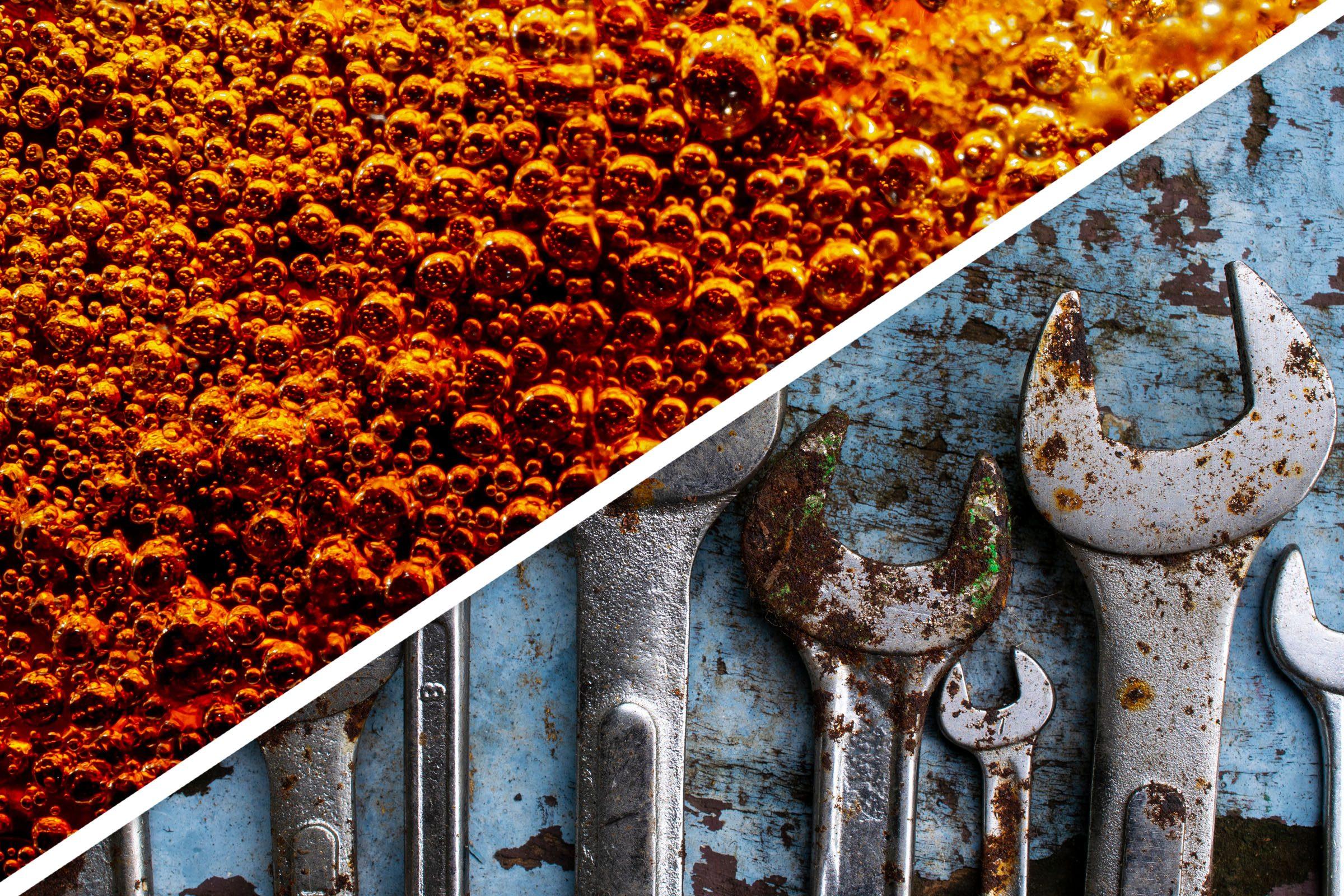 rusty tools metal soda cleaner