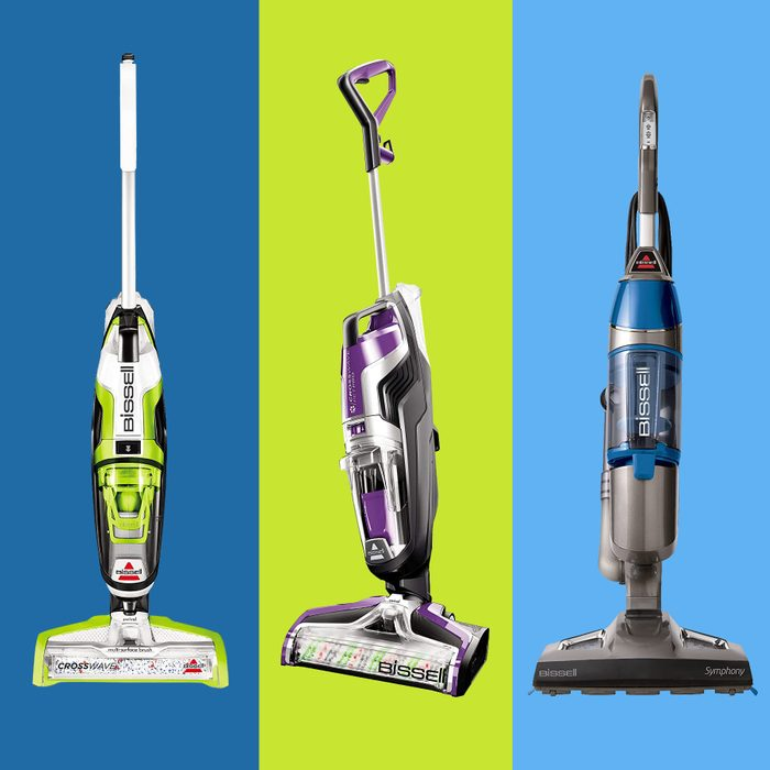 collage of three vac mops