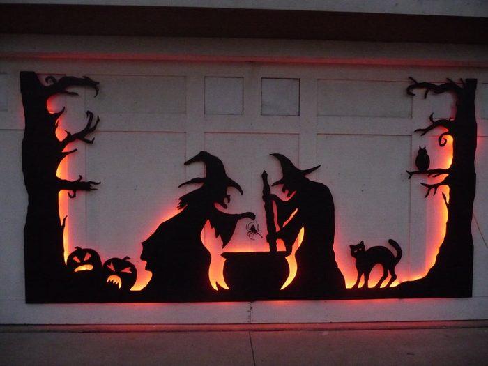 Witches Brew decoration On Garage