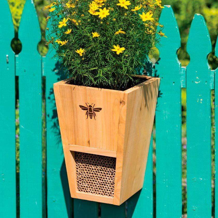mason bee house and planter combo