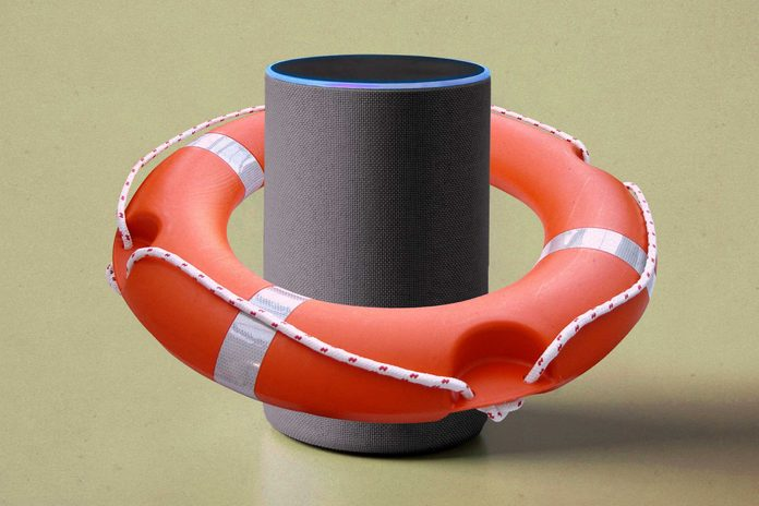 Alexa device wearing a life preserver