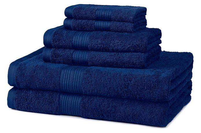 Amazon Basics 6 Piece Fade Resistant Cotton Bath Towel Set