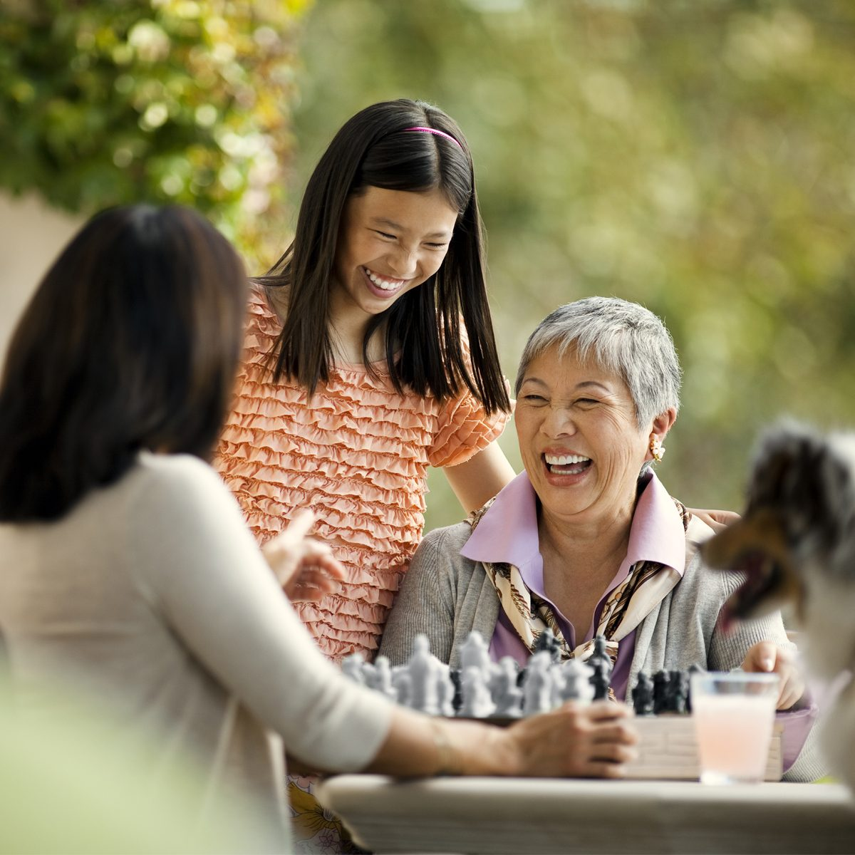 Senior woman enjoying an afternoon with family