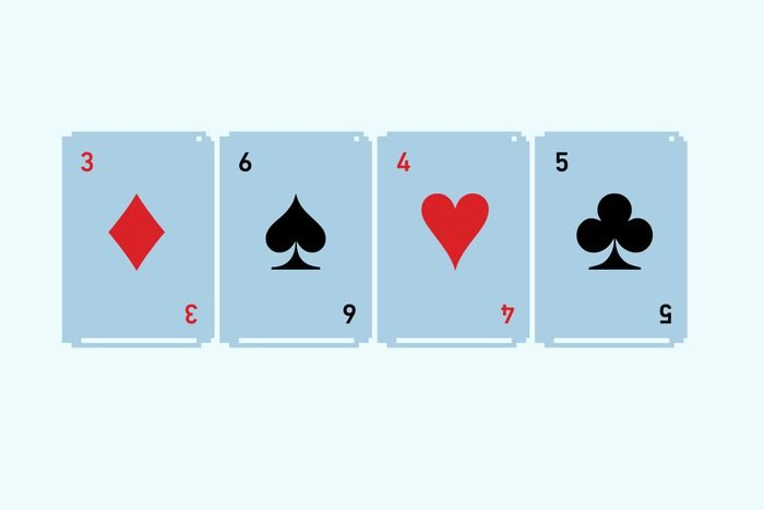 Left to right: Three of diamonds, six of spades, four of hearts, five of clubs.