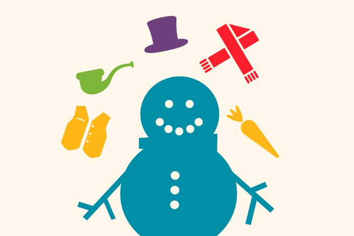 Noel is about to put the finishing touches on the snowman he built. He has already placed the buttons and sticks (as shown), but he has a few other decorations as well. They are: