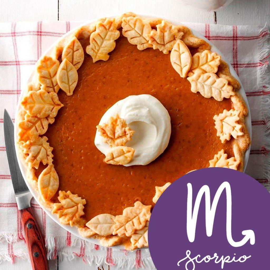 classic pumpkin pie with scorpio zodiac sign