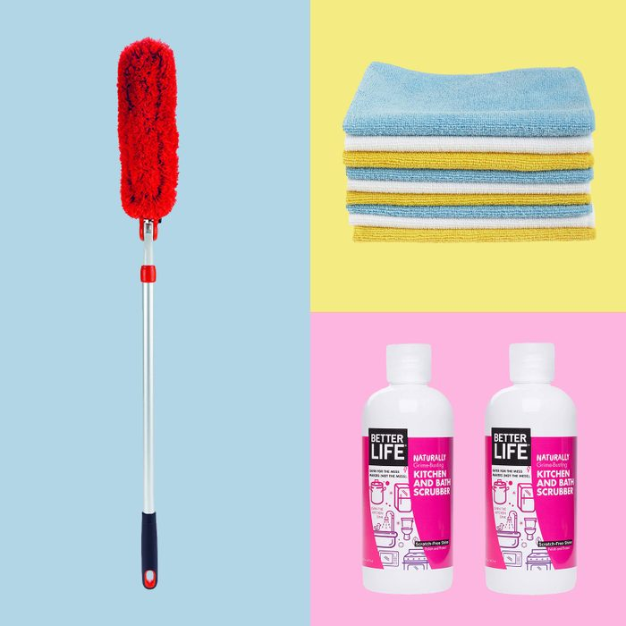 Microfiber cloths, kitchen and bath scrubber, and OXO Good Grips Microfiber Duster for cleaning