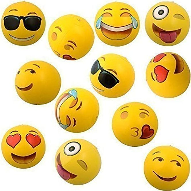 Emoji Universe 12 Emoji Inflatable Beach Balls, 12 Pack