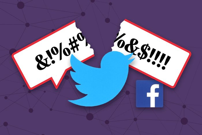 """twitter icon breaking a """"hate speech"""" speech bubble while the facebook icon sits nearby."""