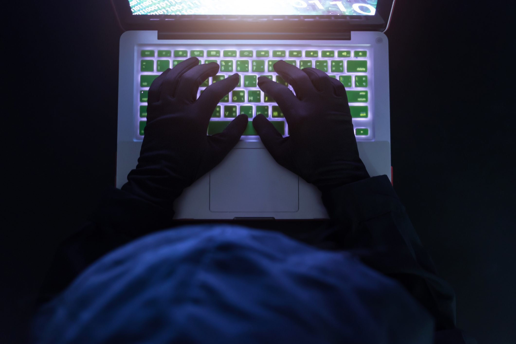 Hacker on a laptop,Data theft