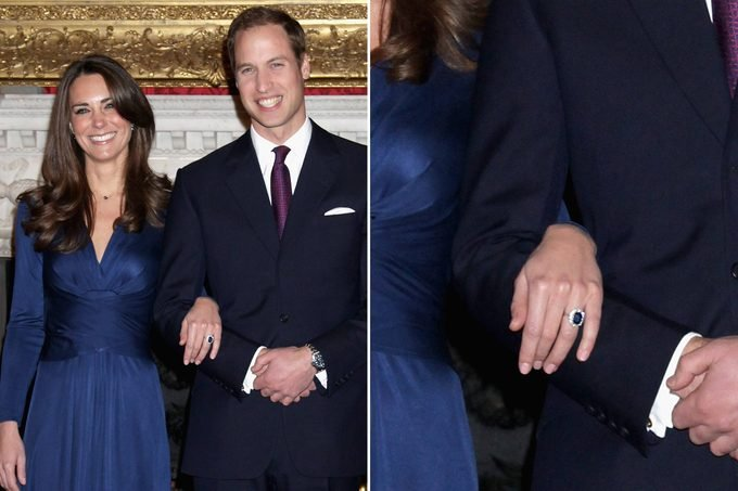 kate middleton with prince william wearing princess diana's engagement ring; close up of the ring
