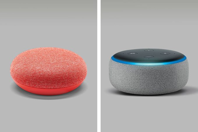 side by side of google home mini and amazon echo dot