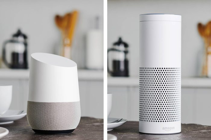 side by side images of google home device and amazon echo device