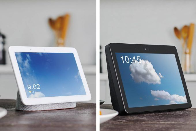side by side of google home hub and amazon echo show