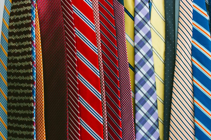 Full Frame View of a Group of Neckties Hanging Side by Side