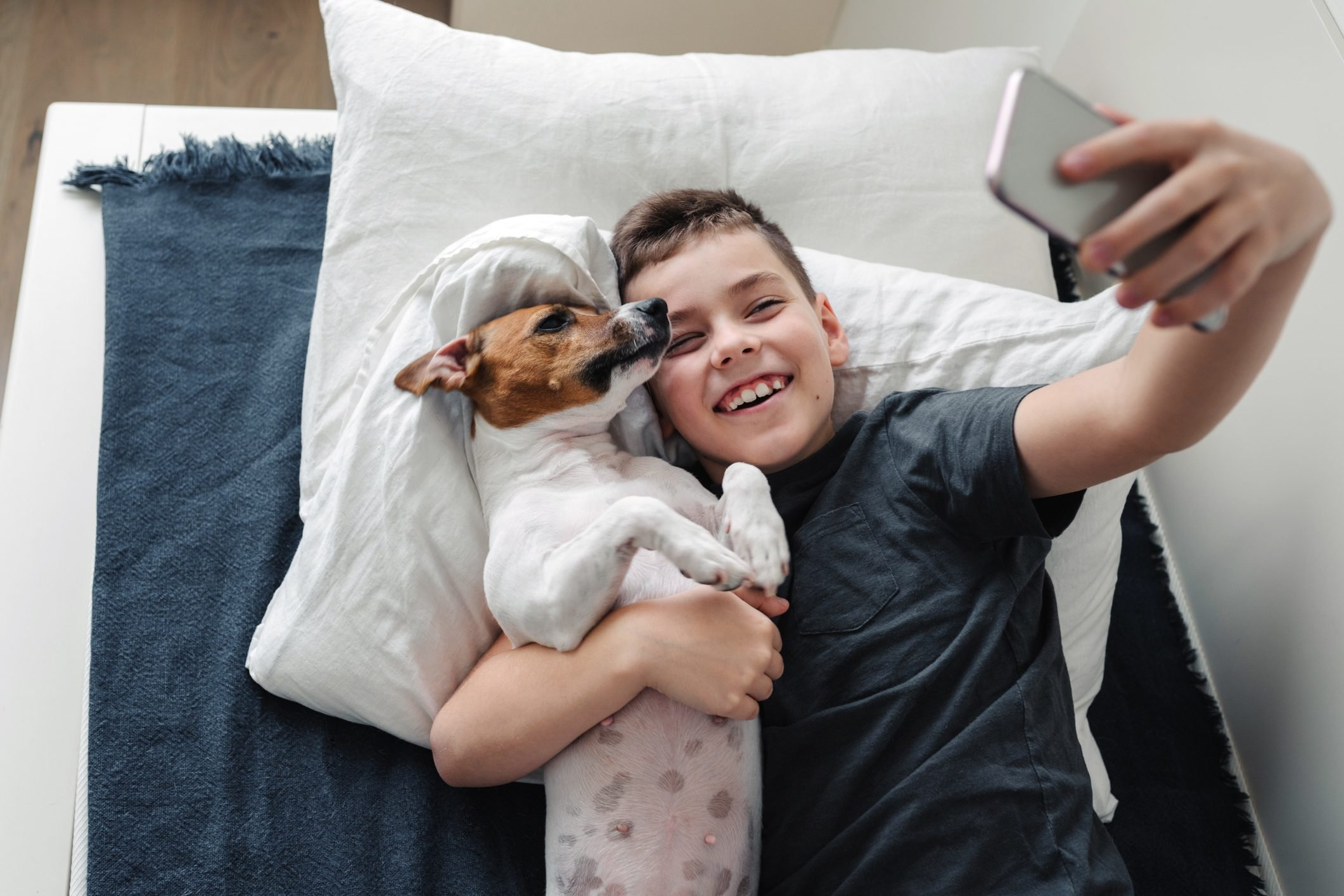 A young boy with a dog in a cozy interior.