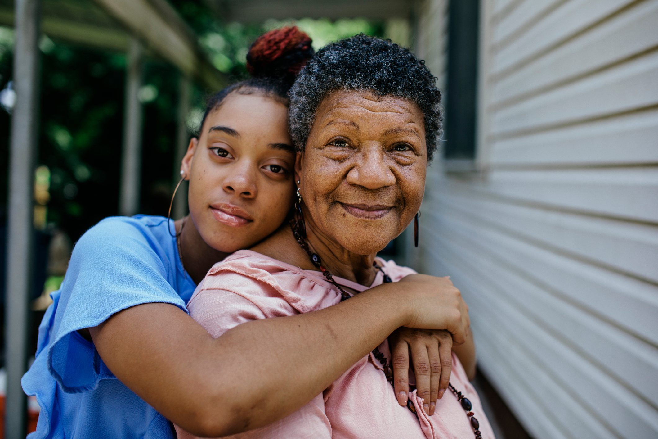 Portrait of black grandmother with teenager granddaughter