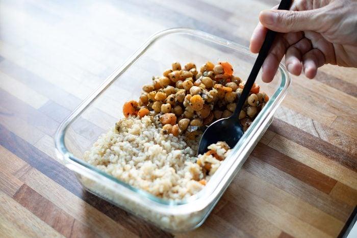 Chickpea stew and rice pilaf, vegan food