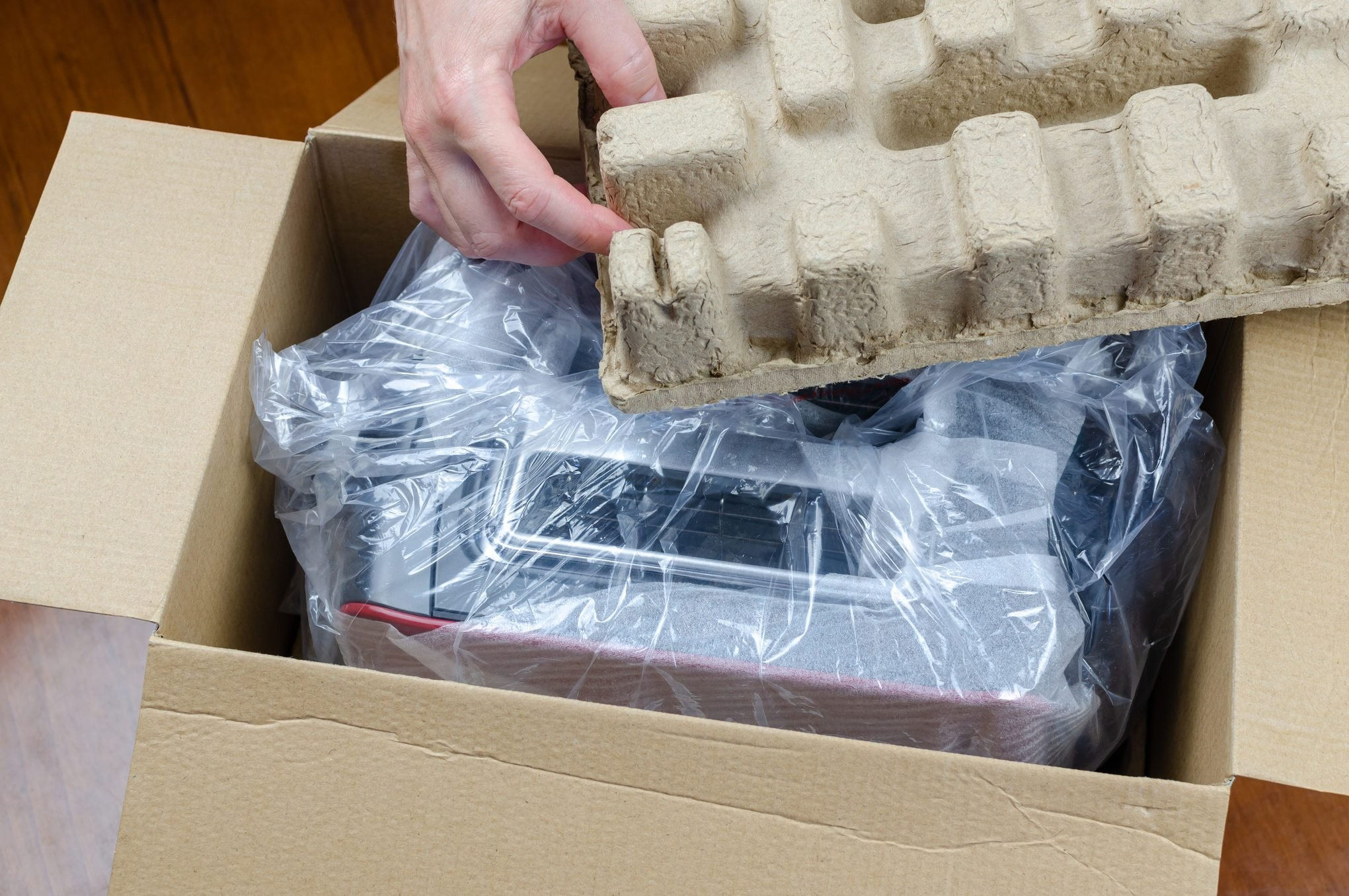 Unpacking a new toaster